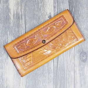 Handbags - Vintage Leather Hand Tooled Embossed Mexico Wallet